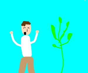 guy sing for plant to grown