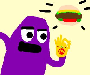 the grimace snaps a burger