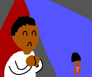black man praising the lord in night club