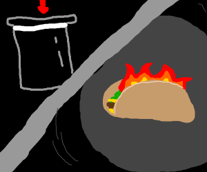 burning taco in a top hat