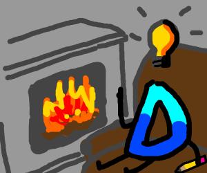 Drawception D gets an idea beside a fireplace