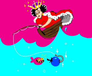 Queen fishing with a Blueberry