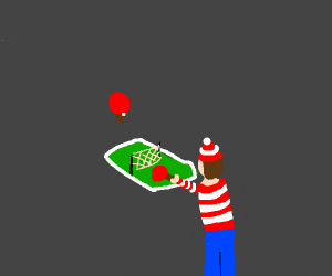 ghost plays pong with where's waldo