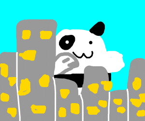 monstrously huge giant panda on city