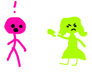 slime gal trowing slime at a dude in pink