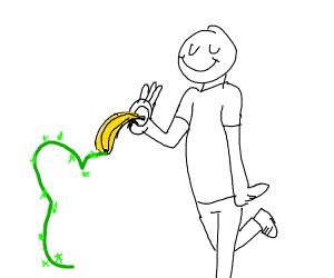 """man drawing with magic """"Banana"""" pencil"""