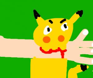 Pikachu Biting Arm