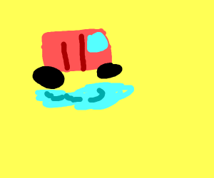red car drives past a puddle