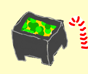 a Minecraft cauldron of puke with a candy can