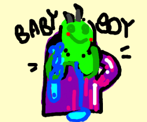 dinosaur baby bathing in a cup