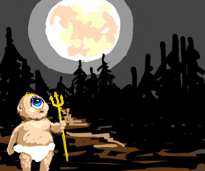 Baby Cyclops with trident in moon