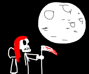 woman reaper looks at the moon