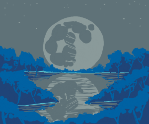 moon over forest and a lake