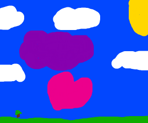 happy lilac cloud over pink body heart