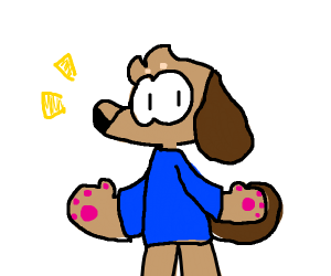 Standing dog in clothes