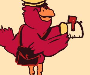 Postman bird holding mailbox