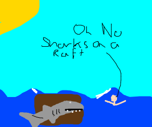 A man is surrounded by sharks on a raft