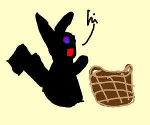 Shadow pikachu says hi to basket
