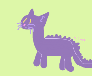 Purple dino with a cat head