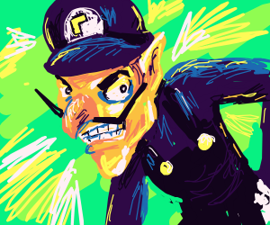 Epic waluigi with green background