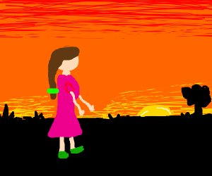 A young woman walks under the evening sky.
