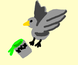 a bird spilling poison