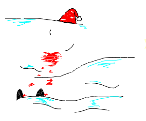Santa is buried in the snow