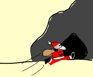 santa going in a cave