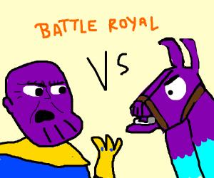 The Fortnite llama battling Thanos