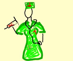 Nurse in green uniform