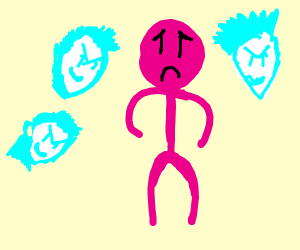 Pink guy is haunted by three ghosts