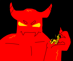 Giant demon picks up tiny man
