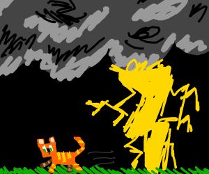 Minecraft orange cat runs from lightning