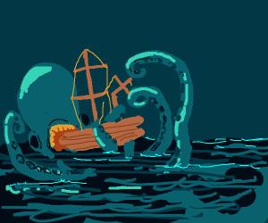 Kraken eats ship