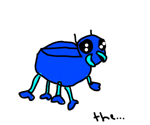 blue eight legged beetle with mittens in the
