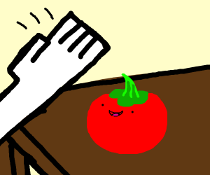 white dude smashed tomato with hand