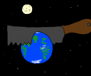 Earth being cut in half