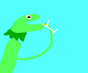 Kermit holding a martini