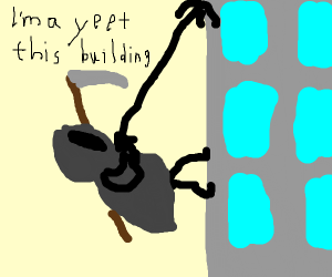Death climbing a building