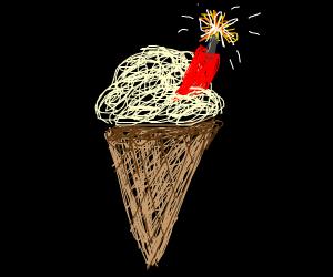 vanilla ice cream that is ACTUALLY A BOMB!!!!