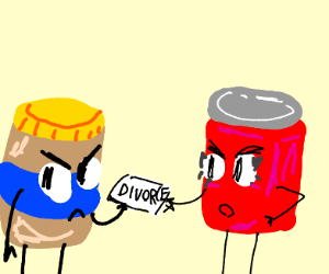 penut butter handing divorce papers to jelly