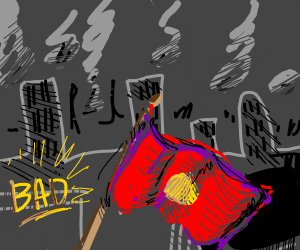 Old Japan flag with the bad guys sign