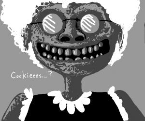 unsettling grandma offering cookies