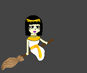 Cleopatra on a broomstick