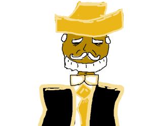 bearded man in fancy hat