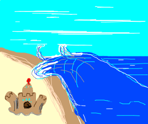 palossand gets washed away by a wave