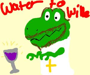 jesus the t rex turns water to wine