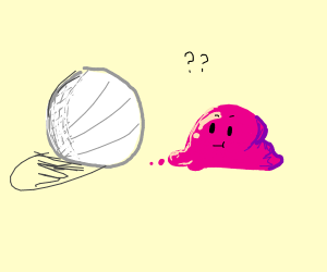 A white ball and a pink blob