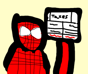Spiderman doing his taxes