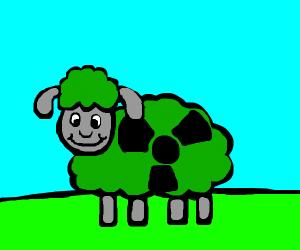 Sheep with radioactive-green wool